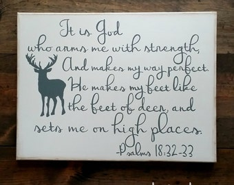 Hand Painted Canvas with Deer and Scripture Psalm 18:32-33