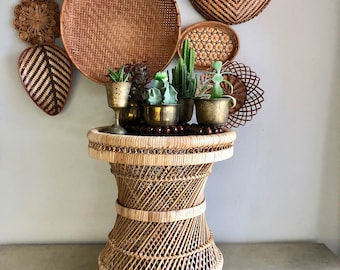 vintage wicker side table drum table glass topped boho decor
