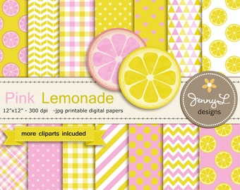 Pink Lemonade Digital papers and Clipart, Lemon Slice, Pink and Yellow Baby Shower, Birthday Scrapbooking Paper Party Theme,