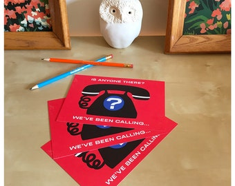 Action Postcard - Is Anyone There Stationery Old Fashioned Telephone - Write Your Reps - Resistance Postcards
