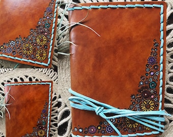 Leather Journal, Tooled Leather Journal, Nature  Journal, Hand Painted