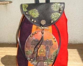 Suede Backpack Red Orange