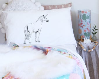 Unicorn pillowcase, whole body, facing right. White, monochrome, cotton, pillowslip, sham for bed, by flossy-p
