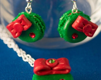 Holiday Macaron Earrings and Necklace Set