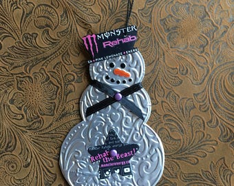 Snowman using Recycled Monster Rehab Pink Lemonade Aluminum Can - Soda Can Art - Denise Camire