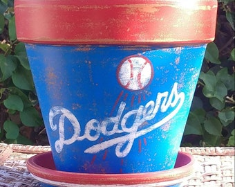 Hand-painted terracotta pot Los Angeles DODGERS, 7-8 inch distressed pot with saucer, baseball fans, flower pot (Free Shipping)