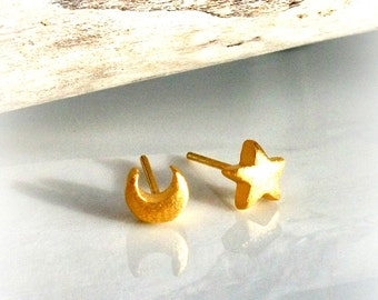 Gold Star & Moon Stud Earrings - Brushed Gold Vermeil Finish - Gift For Her