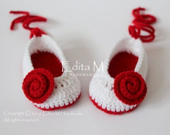 Sale. Crochet baby shoes, baby girl shoes, booties, Mary Janes, slippers, ballerinas, white, red, READY TO SHIP,0-3 months, baby shower gift