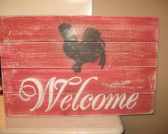 Rooster welcome, welcome sign, wood welcome sign Farmhouse Decor Custom Welcome Sign Cottage Sign