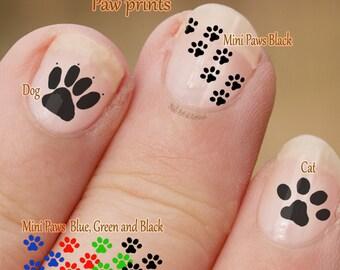 Pawprint Nail Art, hond en kat Nail Art Stickers, vingernagel stickers, vinger nail art, mini poten, katten- en hondenbont overdrukplaatjes, paw prints.