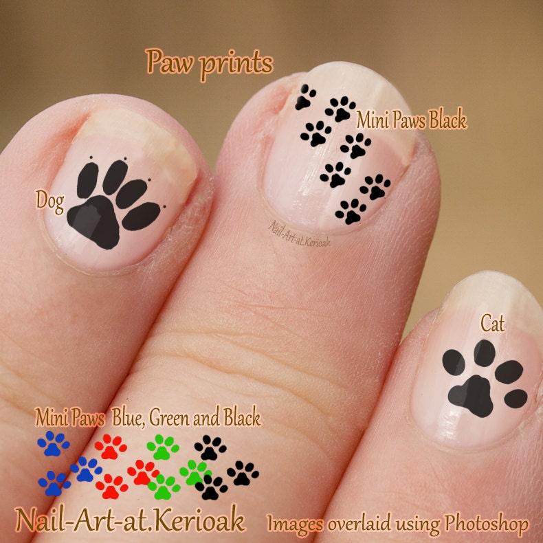Pawprint Nail Art, Dog and Cat Nail Art Stickers, fingernail ...
