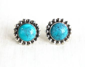 Turquoise Flower Earrings Screw Back Clip On Vintage Southwestern Sterling Silver Screwback Clips