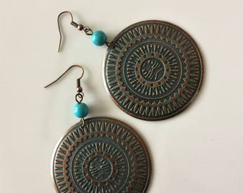 Africa Style Large Disc Earrings, Bronze, Turquoise,  Bohemian, Ethnic, Boho, Tribal earrings