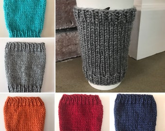 "Knit Coffee Cup Cozy// Knit Coffee Cup Sleeve // Reuseable Coffee Cozy // Solid Colors // 4.5"" tall"