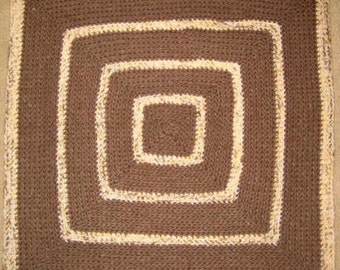 Baby Brown Square  - Hand Made Crocheted Afghan - BRAND NEW