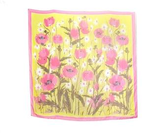 Vera Scarf, HUGE Vera Scarf, Vera Neumann, Scarf Large, XL, Big, Pink Yellow Floral Print Poppy Vintage Accessories Square