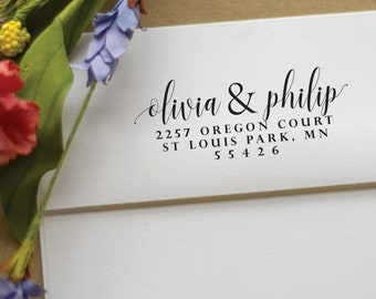 Address Stamp with first names - Self Inking Return Address Stamp for save the dates- best engagement gift - olivia