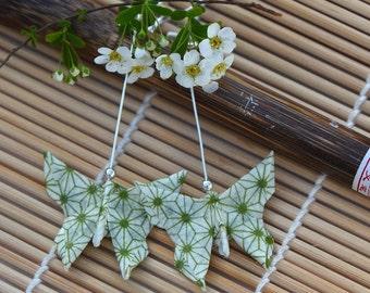 Pendientes de papel origami japonés mariposa joyas washi papel mariposa joyas pendientes largos que chinos presentan pendientes verde verano