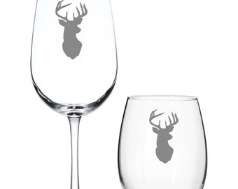 Set of 2 or 4 Deer Head Wine Glasses,Deer Head Glass,Christmas Wine Glass,Hunter Barware,Hunter Wine Glass,Deer Wine Glass,Deer Rack Glasses