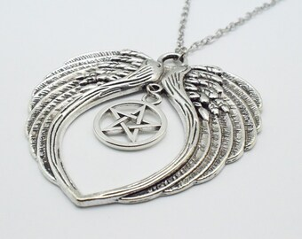 Supernatural necklace etsy 1pcs large antique silver angel wing necklace charm star pentacle pentagram pendant supernatural jewelry silver plated chain 7394 6931 aloadofball Gallery