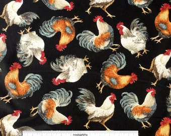Rooster Fabric, Timeless Treasures Dona C3907 Black, Chicken Quilt Fabric, Farmhouse, Country Decor, French Country, Dona Gelsinger, Cotton