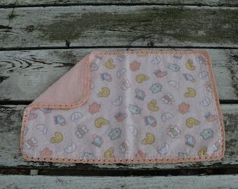 Peach with Yellow Ducks Burp Cloth