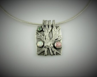 """Item 6109 - """"Everlasting Strength"""" 999 Fine and 925 Sterling Silver Carved Textured Abstract Tree set with Rhodochriste, Opal, Adventurine"""