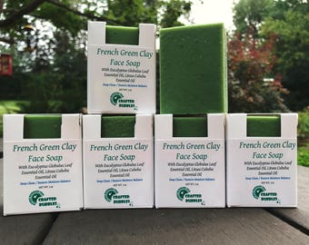 Green Clay Face Bar / 100 % Natural / Acne Soap