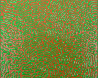Original, Hand Painted, Abstract, Modern, Fluorescent Green Line on Orange Painting
