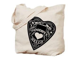 Occult Tote Bag book bags farmers market totes Halloween bag Screen Printed Spirit board gifts skulls Print Christmas book lover gift