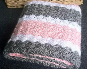 Crochet Pattern - Pink, White, and Grey Striped Baby Blanket