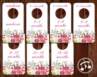 Printable Baby Closet Dividers -  dividers, DOWNLOADABLE clothing dividers, pink baby dividers, closet dividers, pink floral baby dividers,