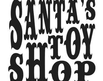 "Primitive Christmas/Holiday STENCIL**Santa's Toy Shop**12""x12"" for Painting Signs, Airbrush, Crafts, Wall Art and Decor"
