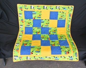 Baby Boy Minky Flannel Patchwork Quilt, Yellow, Green, Blue, Shower Gift, Lap Quilt, Crib, Baby Gift, Handmade.
