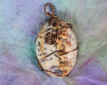 Serenity - Paint Brush Jasper Cabochon Pendant Wire Wrapped in Antiqued Copper