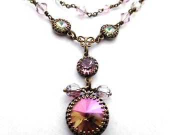 Crystal chain layer necklace, mauve pastel rhinestone pendant, antiqued brass, all Austrian crystal, vintage style jewelry, gift for her