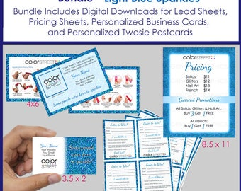 Color Street Personalized Bundle, Light Blue, Glitter, Business Cards, Lead Sheets, Postcards, Pricing Sheets