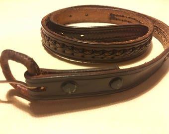 Vintage leather braided belt size 36