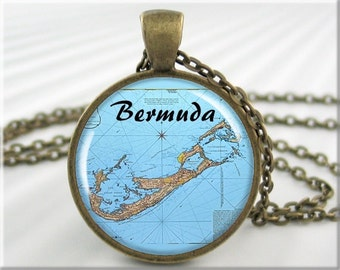 Bermuda Map Pendant, Resin Charm, Bermuda Island Map Necklace, Gift Under 20, Round Bronze, Travel Gift, Picture Pendant (678RB)