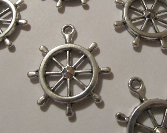 4 Antique Silver Helm Charms