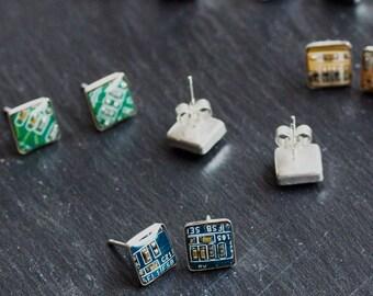Sterling silver studs with Circuit board piece - 8 mm - modern geeky jewelry, stud earrings, cyberpunk