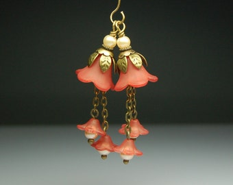 Vintage Style Bead Dangles Hand Dyed Terra Cotta Red Lucite Flower Pair
