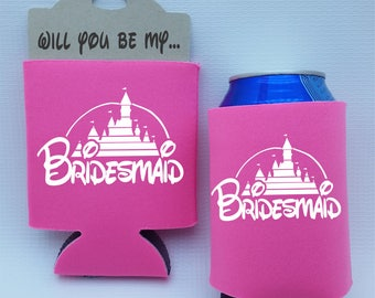 Will you be my BRIDESMAID proposal can cooler bachelorette party favors wedding party gifts personalized custom monogrammed can holder
