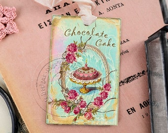 Shabby Chic Gift Tags - Wedding Cake - Chocolat Cake - French style - 4 pcs in pack - Eco-friendly paper