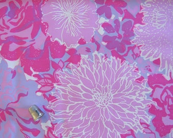 """LILLY PULITZER Fabric Vintage 1970s Claudia by Zuzek Key West Hand Print Cotton Fabric Pink Blue 45"""" x 2 yds Sewing Quilting Upholstery"""