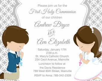 First Holy Communion Invitation for Siblings, Twins, Cousins, Choose Hair Color,  Choose Gender -  Printable or Printed