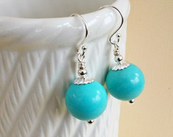 Turquoise blue earrings, large gemstone earrings, turquoise magnesite earrings, blue and silver earrings,