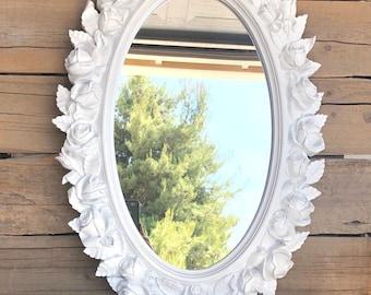 "Farmhouse Ornate Vintage Oval Mirror 19 x 27""  -Upcycled LARGE Resin Oval ROSES Floral Mirror Farmhouse Bathroom Nursery Bedroom Modern"