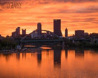 Orange Sunset over Pittsburgh (photography, Pittsburgh, photo)