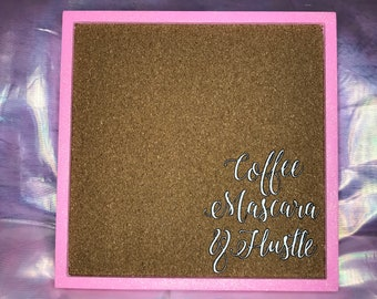 Coffee, Mascara and Hustle Vision Board - Pink Glitter